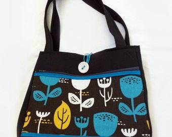 Blue Flowers Handmade Tote Bag