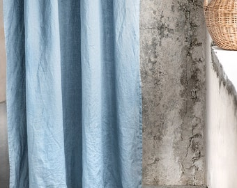 Swedish blue. Washed linen curtains/ linen drapes in Swedish blue