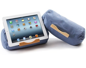 OCEAN GREY: Tablet Pillow - For iPads, tablets of all sizes and eReaders. USA Made. Father Gift / Husband Gift.