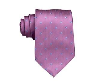 Mens Silk Tie.Holiday Pink Necktie with Aqua Blue Dots.Mens Gifts.Wedding Tie.Standard Size 8cm Width