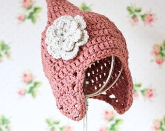 Childrens Hat, Crochet Pixie Hat, Childrens Pixie Hat, Pixie Hood, Pixie Hat, Pink Hat