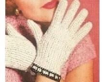 Crochet Gloves Pattern Crochet Lace Gloves Pattern Vintage 40s Crochet Fishnet Gloves Pattern Crochet Bridal Gloves Pattern
