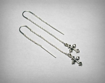 Threader Earrings, Cross Earrings, Sterling Silver Earrings, Silver Threader, Religious Jewelry, Silver Cross Long Drop Dangle Earrings,