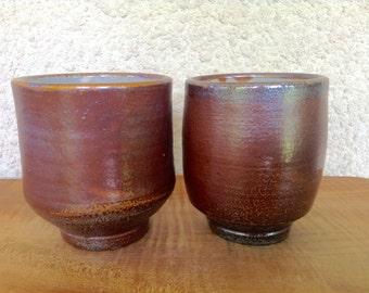 Set of 2 Soda Fired Pottery Yunomis / Tea Cups / Juice Wine Glass / Dark Stoneware