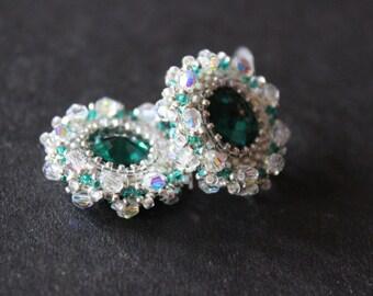 Emerald green and silver earrings Prom earrings  Swarovski crystal earrings Exquisite bride Luxury wedding jewelry
