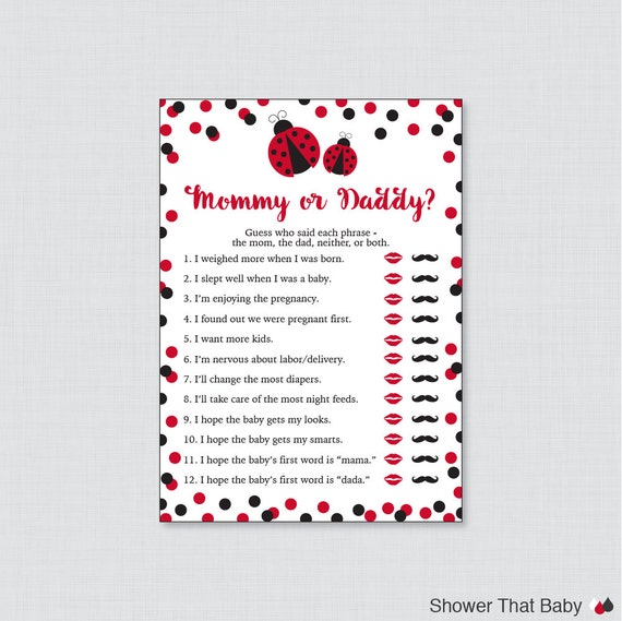 Ladybug Mommy Or Daddy Baby Shower Quiz   Red Ladybug Baby Shower He Said  She Said Game   Red Mommy Or Daddy Phrases Quiz Game   0050 R