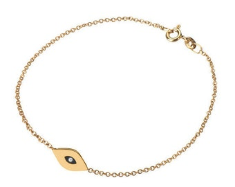 14k gold evil eye bracelet, 14k solid gold