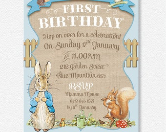 Boy's Blue Peter Rabbit party invitation |  Personalised Digital file