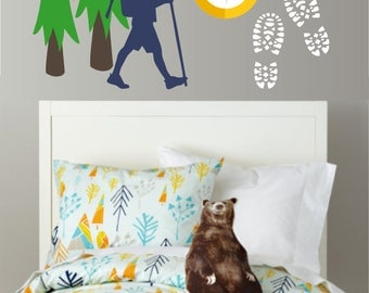 Hike & Explore Camping Vinyl Wall Decal - Children's Room or Playroom Wall Sticker