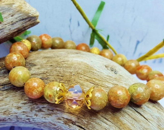 Yoga Jewelry For Women ~ Citrine & Autumn Jasper Roll On Bracelet ~ Fall Jewelry Ideas For Rustic Bridesmaid Gift, Anniversary Present