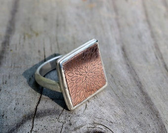 Silver Ring with Etched Copper