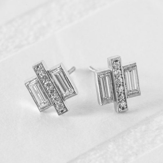 baguette diamonds earrings deco pave baguette earrings vintage diamonds 7599