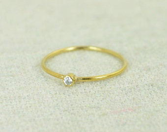 Tiny CZ Diamond Ring, Gold Filled Diamond Stacking Ring, Gold Filled Diamond Ring, Diamond Mothers Ring, April Birthstone, Diamond Ring
