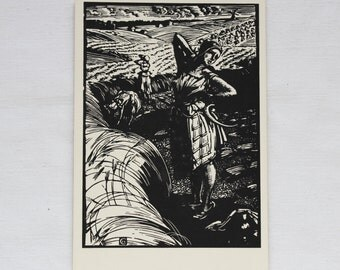 "Artist Sokolov. Vintage Soviet Postcard ""Harvest"" - 1958. Izogiz. Engraving, Women, Field, Wheat, Sickle"