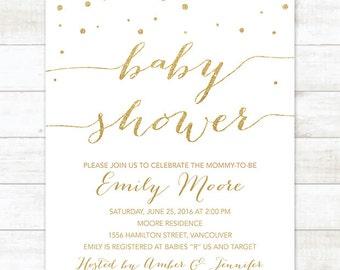 white gold baby shower invitation printable confetti white gold glitter shower gender neutral digital invite customizable