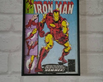 Super Hero Wall Art with Vintage Style Comic Print of Iron Man