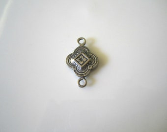 Antique Silver Pewter Stamped Connector Pewter Jewelry Making Charm Silver Vintage Stamped Findings 25x15mm (1 pc) 194V10