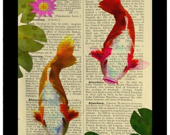 Asian Koi Fish Carp Goldfish - Dictionary Print Book Page Art