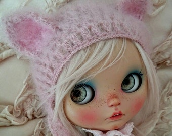 Blythe hat cat pink mohair blythe helmet knitted hat for Blythe doll  blythe outfit beanie handmade