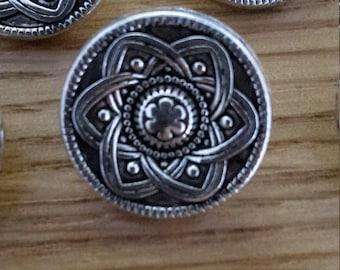6 PCS Silver Tone Celtic Flower Metal Buttons