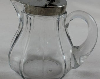 Heisey Antique Metal Lidded Syrup Pitcher Dated 1910