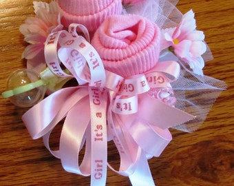 Baby Sock Corsage, Handmade Baby Sock Shower Corsage, Baby Shower Gift