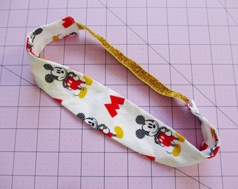 Mickey Mouse Cartoon Print Gold Glitter Elastic Headband
