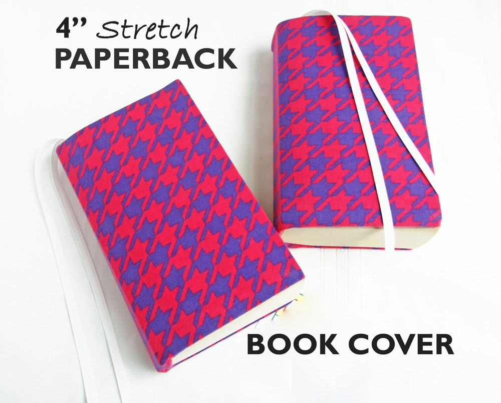 White Stretchable Book Cover : Stretch paperback book cover pink purple houndstooth