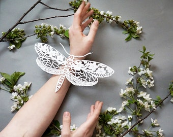 "Papercut artwork, paper cut art ""Butterfly"" original hand cut work in white, art silhouette of a bug by Eugenia Zoloto"