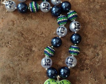 Seahawks 12 chunky bead necklace-adult size