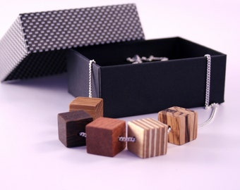 Wooden Geometric Necklace / Wooden jewelry