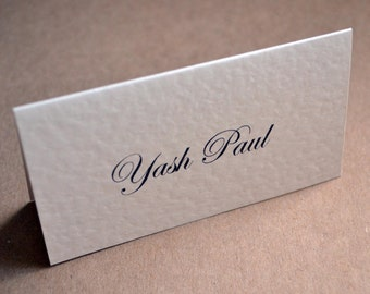 Wedding Place Cards - Calligraphy Table Name Ivory Folded Textured or Smooth Card - Script Font Tent Style