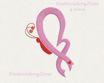 Butterfly Pink ribbon with heart machine embroidery design Breast Cancer Awareness Embroidery pattern Pink ribbon. 4 sizes Hoop 4x4 5x7 6x10