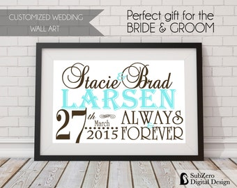 Wedding Subway Art, Personalized with Name and Wedding Date - Choose Colors 8 x 10 Digital Print