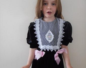 Vintage Black Velvet Holiday Dress ILGWU - Size Girls 8