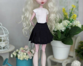 Top and Dark-blue Pleated skirt for Monster High / EAH / Blythe / Azone pure neemo L/M/S/XS / Momoko / Obitsu and same doll 1/6 size