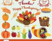 50% OFF HARVEST BLESSINGS Digital Clipart, Fall Colors, Turkey, Thanksgiving, Pumpkin, Apples, Vegetables, Farmers Market, Holidays