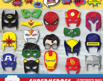 SUPERHEROES Photobooth Masks and Superhero Speech Bubbles, Comic Book Party, Digital Masks, Costume Party, Kids Birthday