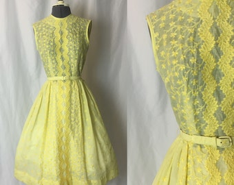 RESERVED Xs ** 1960s DEADSTOCK lemon yellow embroidered belted dress ** vintage sixties sheer day dress