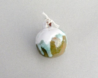 Pottery Christmas Ornament in Green and White, Small Rustic Ornament, Christmas Tree Ornament, Tree Bauble in Green, Ready to Ship