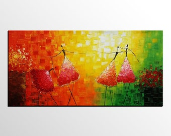 Ballet Dancer Painting, Large Canvas Art, Original Painting, Large Wall Art, Canvas Painting, Abstract Painting, Rustic Art, Abstract Art