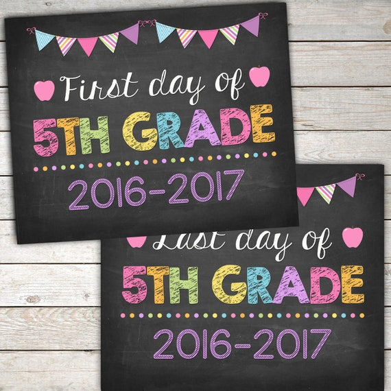 First Day and Last Day of 5th Grade Sign 8x10 by ...