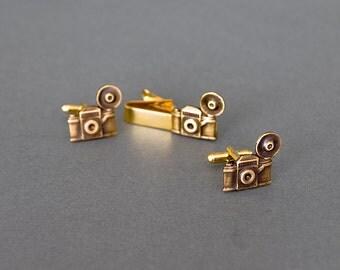 Camera Cfflinks and Tie Clip Set Men's Cufflinks Camera Tie Bar Photographs Photographer Steampunk Cufflinks Antique Silver Men's Gifts