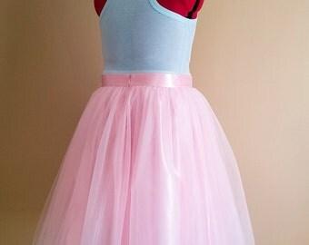 Light pink tutu, Adult sewn tutu, romantic boho, country bridal skirt, midi tea length, bridesmaids sets, plus size clothing, satin slip