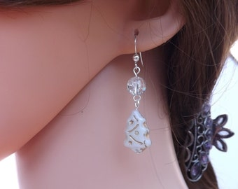 Christmas tree earrings, white tree earrings, Czech glass earrings, Christmas earrings, Xmas earrings, festive jewellery, glass tree dangles