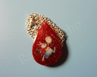 Red rabbit pendant white Alice in the land of wonders