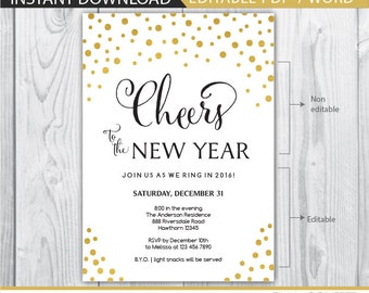 new years eve invite - new years eve invitation - new years invitation - new years eve printable - new years eve party - gold INSTANT