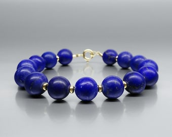 Timeless Lapis Lazuli bracelet with 14K gold - gift idea - AAA Grade Lapis - solid gold - elegant bracelet - mat finish - blue and gold