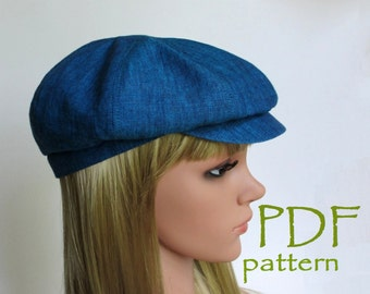 8-Panels Newsboy Hat PDF Sewing Pattern/S, M, L sizes/ Driving cap/ Digital printable pattern/ Hats Sewing Project/ DIY clothing