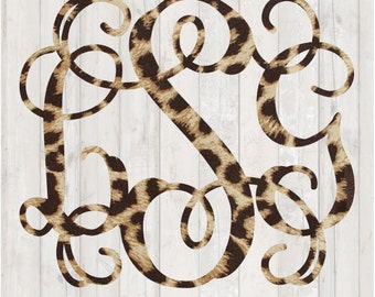 Leopard Print Monogram Decal